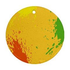 Paint Stains Spot Yellow Orange Green Ornament (round)