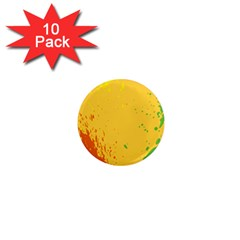 Paint Stains Spot Yellow Orange Green 1  Mini Magnet (10 Pack)  by Alisyart