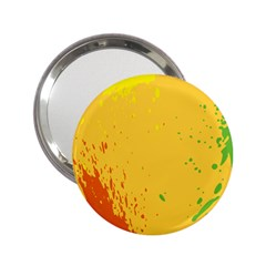 Paint Stains Spot Yellow Orange Green 2 25  Handbag Mirrors