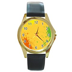 Paint Stains Spot Yellow Orange Green Round Gold Metal Watch by Alisyart
