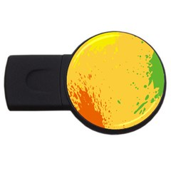Paint Stains Spot Yellow Orange Green Usb Flash Drive Round (2 Gb)
