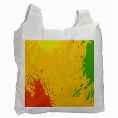 Paint Stains Spot Yellow Orange Green Recycle Bag (two Side)  by Alisyart