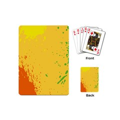 Paint Stains Spot Yellow Orange Green Playing Cards (mini)