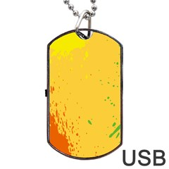 Paint Stains Spot Yellow Orange Green Dog Tag Usb Flash (two Sides) by Alisyart