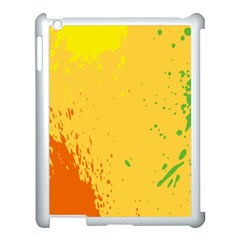 Paint Stains Spot Yellow Orange Green Apple Ipad 3/4 Case (white) by Alisyart