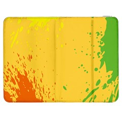 Paint Stains Spot Yellow Orange Green Samsung Galaxy Tab 7  P1000 Flip Case