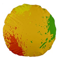 Paint Stains Spot Yellow Orange Green Large 18  Premium Flano Round Cushions