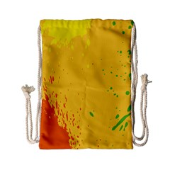 Paint Stains Spot Yellow Orange Green Drawstring Bag (small) by Alisyart