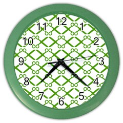 Scissor Green Color Wall Clocks