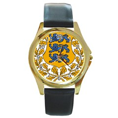 Coat Of Arms Of Estonia Round Gold Metal Watch by abbeyz71