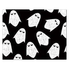 Ghost Halloween Pattern Rectangular Jigsaw Puzzl by Amaryn4rt