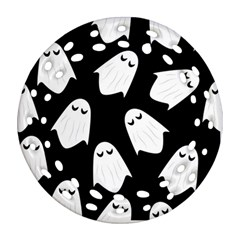 Ghost Halloween Pattern Ornament (round Filigree) by Amaryn4rt