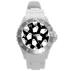 Ghost Halloween Pattern Round Plastic Sport Watch (l)