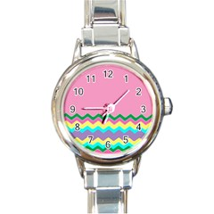 Easter Chevron Pattern Stripes Round Italian Charm Watch by Amaryn4rt
