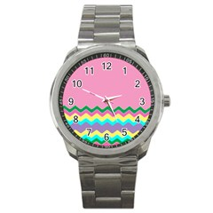 Easter Chevron Pattern Stripes Sport Metal Watch by Amaryn4rt