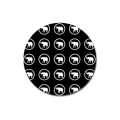 Elephant Wallpaper Pattern Magnet 3  (round) by Amaryn4rt