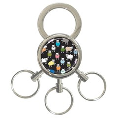 Sheep Cartoon Colorful 3 Ring Key Chains