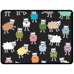 Sheep Cartoon Colorful Double Sided Fleece Blanket (large)