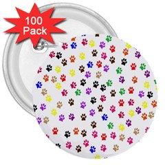 Paw Prints Background 3  Buttons (100 Pack)