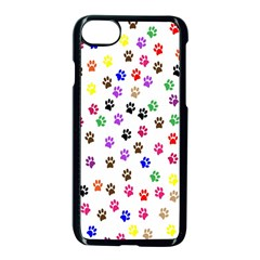 Paw Prints Background Apple Iphone 7 Seamless Case (black)