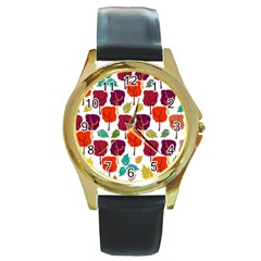 Tree Pattern Background Round Gold Metal Watch by Amaryn4rt