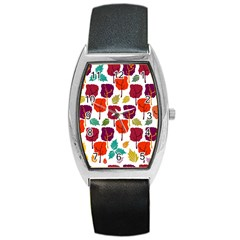 Tree Pattern Background Barrel Style Metal Watch by Amaryn4rt