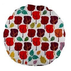 Tree Pattern Background Large 18  Premium Flano Round Cushions