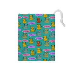 Meow Cat Pattern Drawstring Pouches (medium)