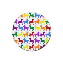 Colorful Horse Background Wallpaper Rubber Coaster (round)  by Amaryn4rt