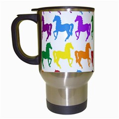 Colorful Horse Background Wallpaper Travel Mugs (white)