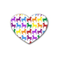 Colorful Horse Background Wallpaper Rubber Coaster (heart)  by Amaryn4rt
