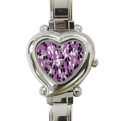 Floral Pattern Background Heart Italian Charm Watch by Amaryn4rt