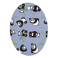 Panda Tile Cute Pattern Blue Oval Ornament (two Sides)