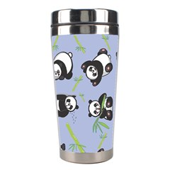 Panda Tile Cute Pattern Blue Stainless Steel Travel Tumblers by Amaryn4rt