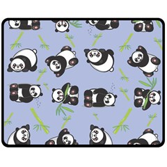 Panda Tile Cute Pattern Blue Double Sided Fleece Blanket (medium)  by Amaryn4rt