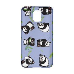Panda Tile Cute Pattern Blue Samsung Galaxy S5 Hardshell Case  by Amaryn4rt