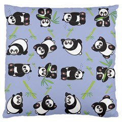 Panda Tile Cute Pattern Blue Standard Flano Cushion Case (one Side) by Amaryn4rt