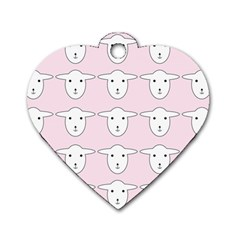 Sheep Wallpaper Pattern Pink Dog Tag Heart (two Sides) by Amaryn4rt