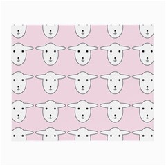 Sheep Wallpaper Pattern Pink Small Glasses Cloth (2 Side) by Amaryn4rt