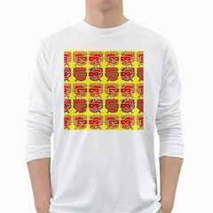 Funny Faces White Long Sleeve T-shirts by Amaryn4rt