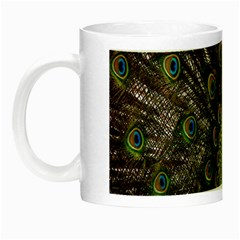 Bird Peacock Display Full Elegant Plumage Night Luminous Mugs by Amaryn4rt