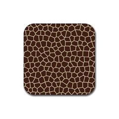 Leather Giraffe Skin Animals Brown Rubber Square Coaster (4 Pack)  by Alisyart
