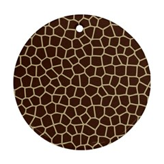 Leather Giraffe Skin Animals Brown Round Ornament (two Sides)