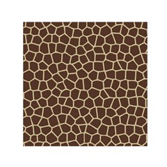 Leather Giraffe Skin Animals Brown Small Satin Scarf (square)