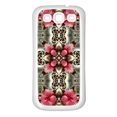 Flowers Fabric Samsung Galaxy S3 Back Case (white)