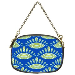 Sea Shells Blue Yellow Chain Purses (one Side)