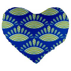 Sea Shells Blue Yellow Large 19  Premium Heart Shape Cushions