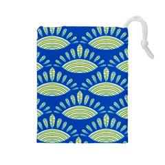 Sea Shells Blue Yellow Drawstring Pouches (large)  by Alisyart