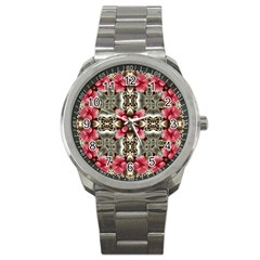 Flowers Fabric Sport Metal Watch by Amaryn4rt