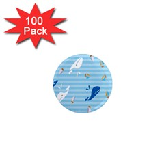 Whaling Ship Blue Sea Beach Animals 1  Mini Magnets (100 Pack)